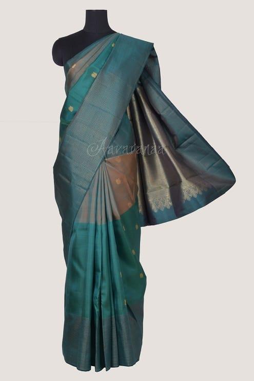 Cobalt blue kanchi silk saree-0