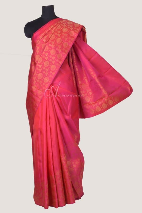 Peachish pink jewellery design rising border kanchi saree-0