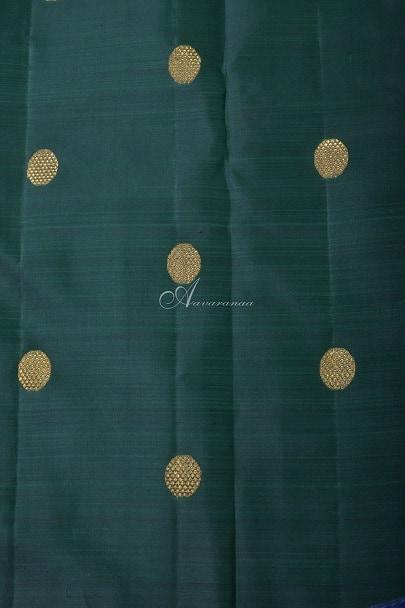 Maroon lotus butta silk saree with bottle green pallu-14246