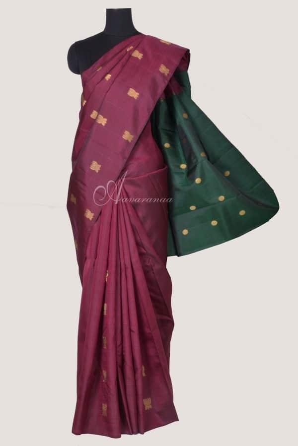 Maroon lotus butta silk saree with bottle green pallu-0