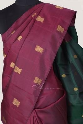 Maroon lotus butta silk saree with bottle green pallu-14251