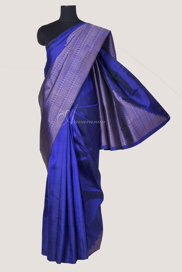 Royal blue kanchi silk saree half rising mango design-0