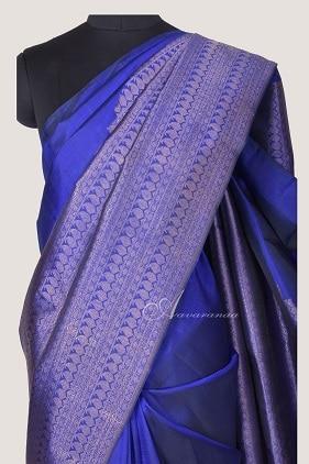 Royal blue kanchi silk saree half rising mango design-14253