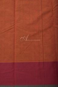 Rust orange kanchi cotton saree with black mayil chakram-14263