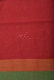 Red kanchi cotton saree with stripes-14268