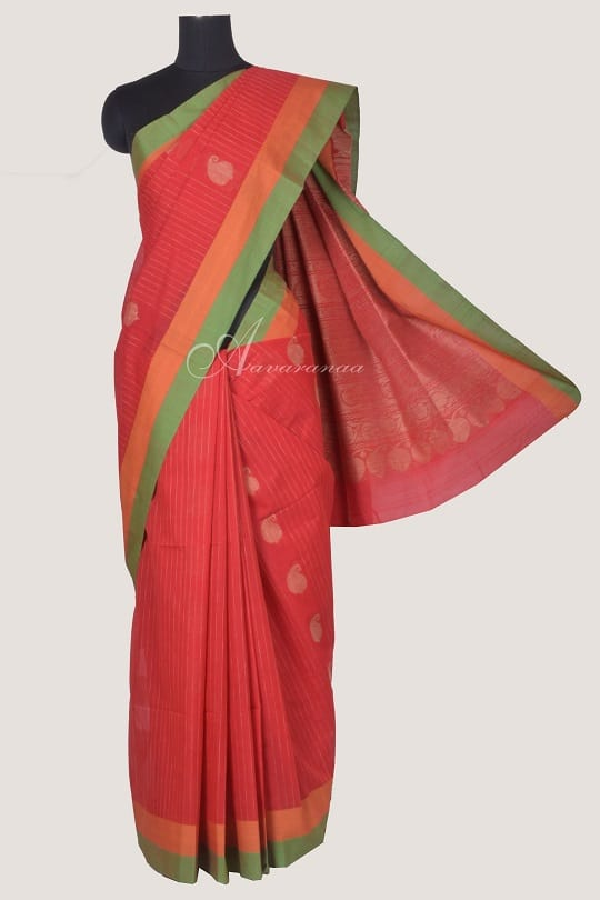 Red kanchi cotton saree with stripes-0