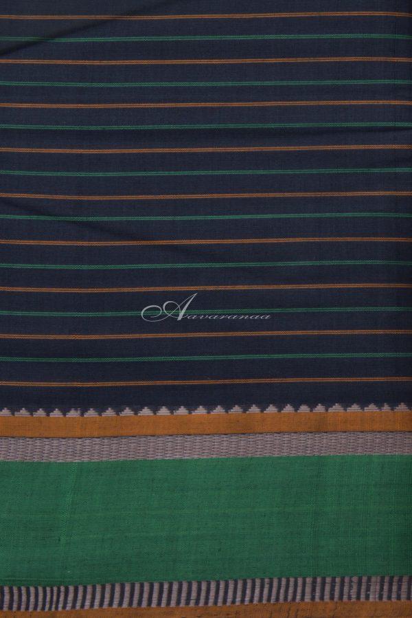 Black checks kanchi cotton saree with green border-14349