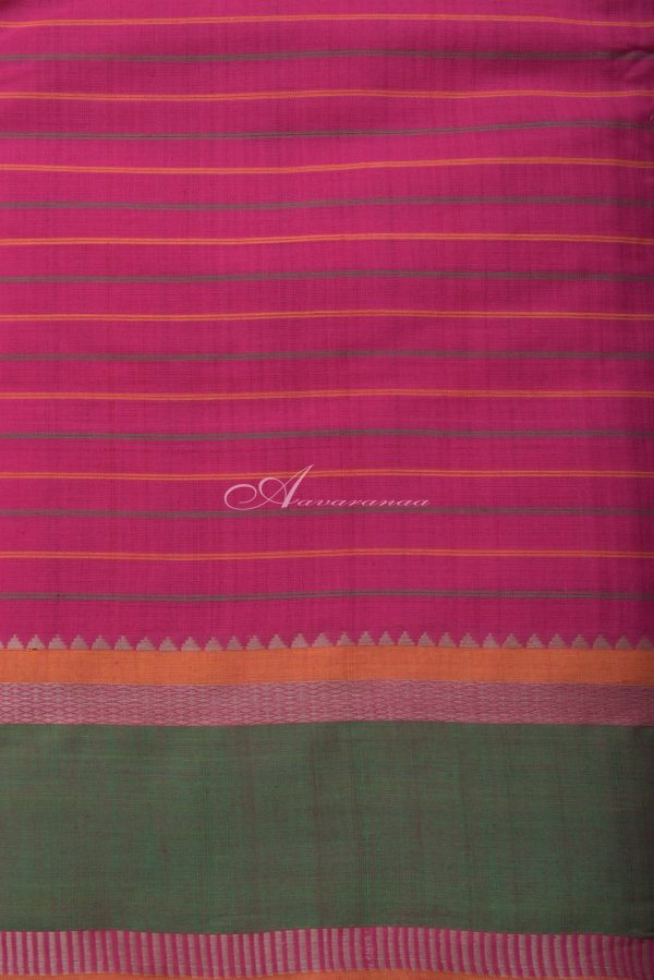 Pink checks kanchi cotton saree with green border-14358