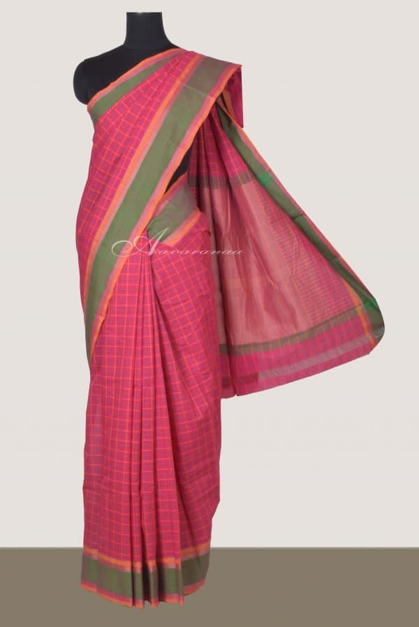 Pink checks kanchi cotton saree with green border-0