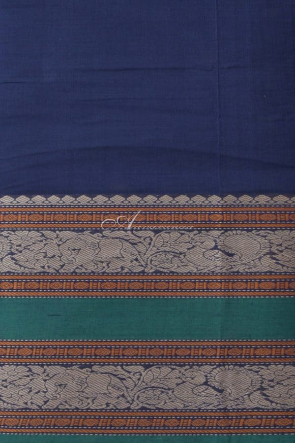 Navy blue kanchi cotton saree with green border-14341