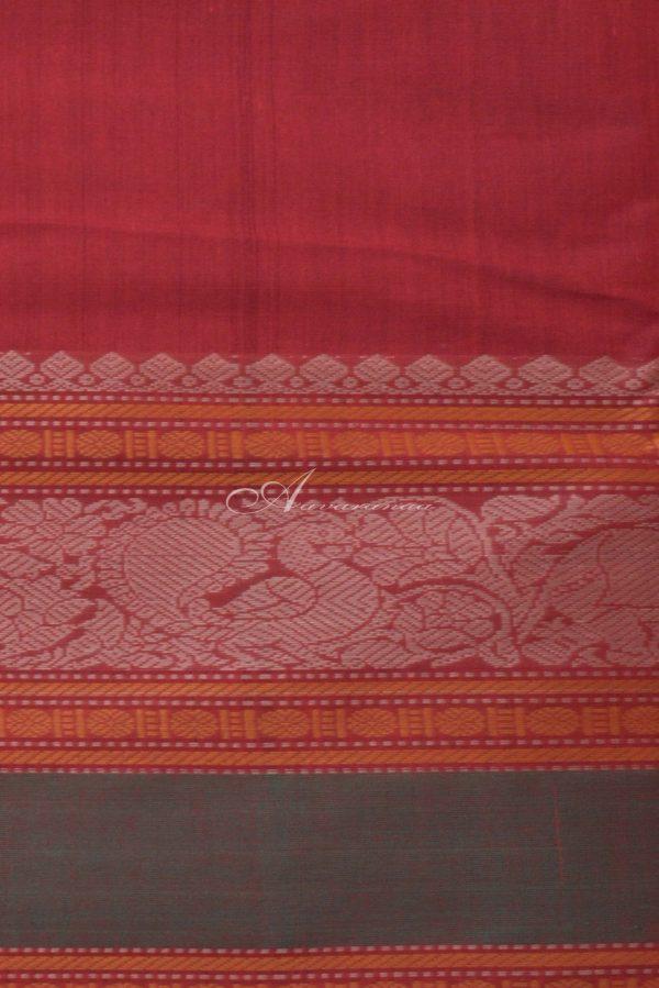 Reddish maroon kanchi cotton saree with green long border-14370