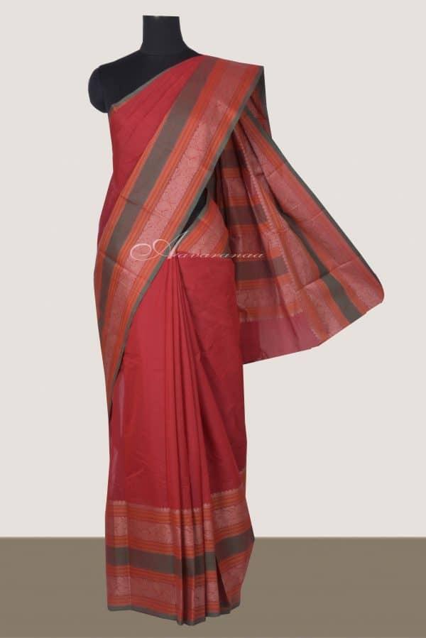 Reddish maroon kanchi cotton saree with green long border-0