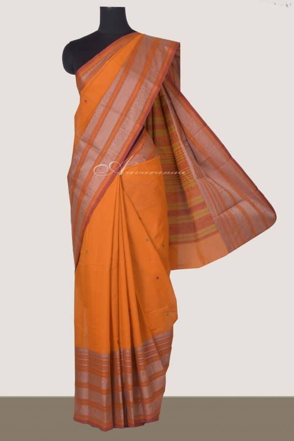 Yellow kanchi cotton saree with mustrad border-0