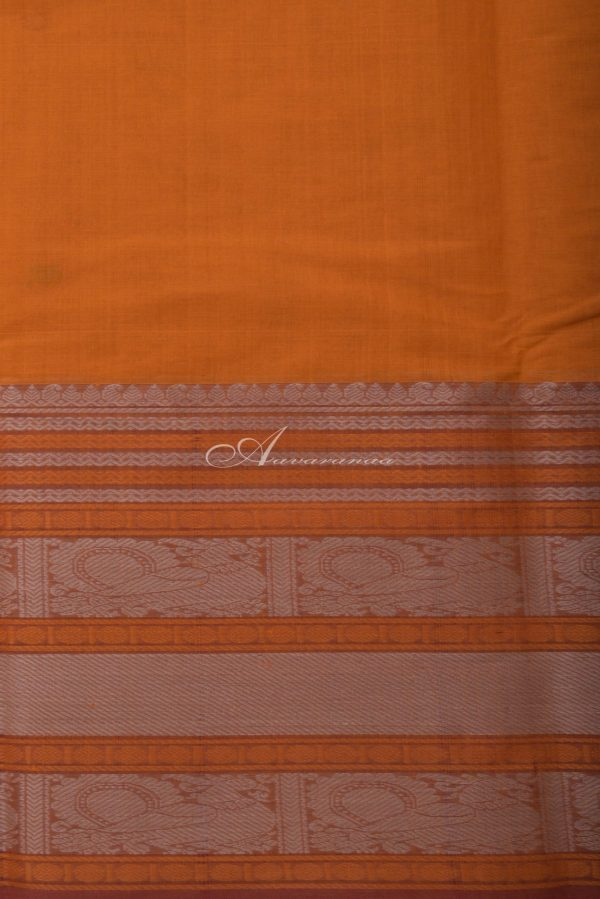 Yellow kanchi cotton saree with mustrad border-14378