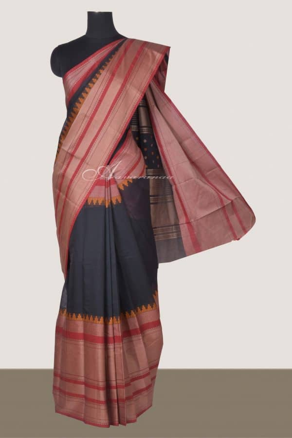 Black kanchi cotton saree with red border-0