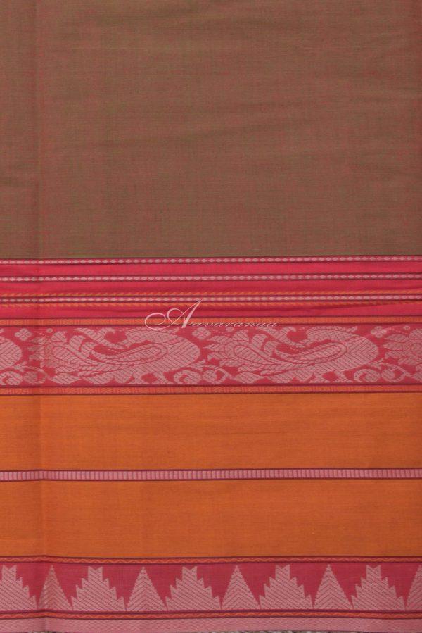 Mandulir green kanchi cotton saree with mustrad-pink border-14382