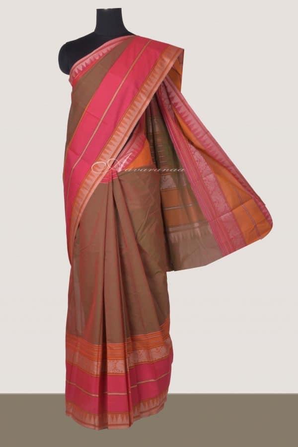 Mandulir green kanchi cotton saree with mustrad-pink border-0