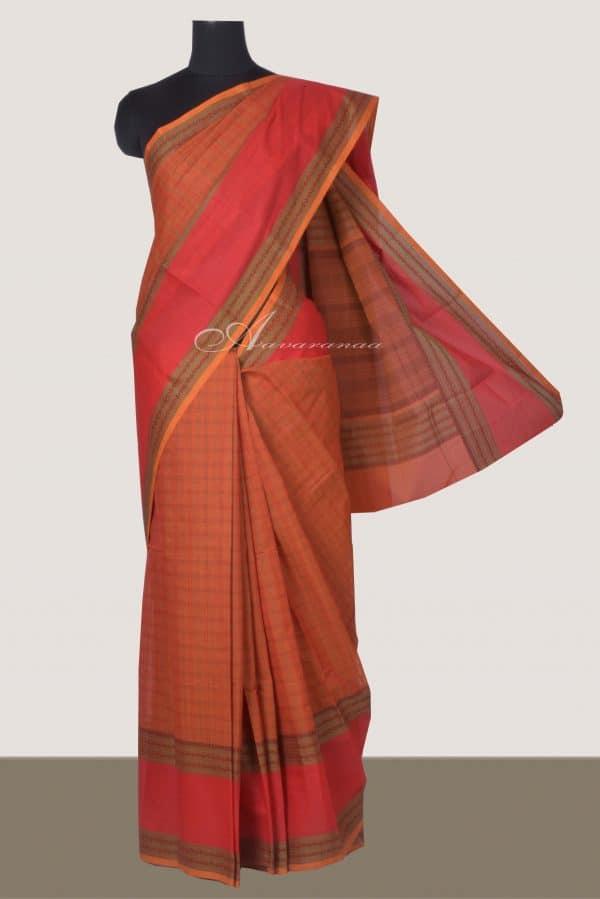 Rust orange kanchi cotton saree with red border-0