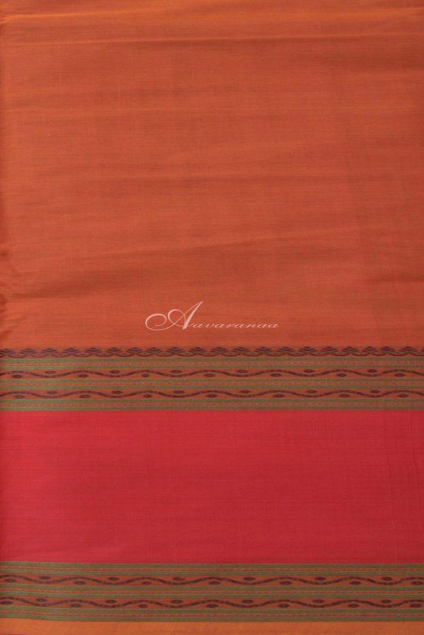 Rust orange kanchi cotton saree with red border-14393