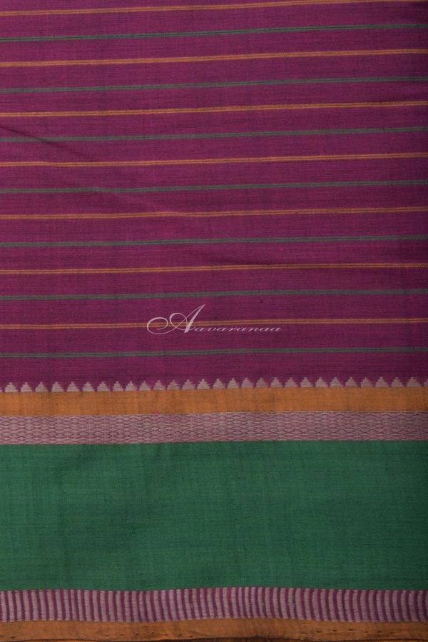 Purple kanchi cotton saree with green border-14413