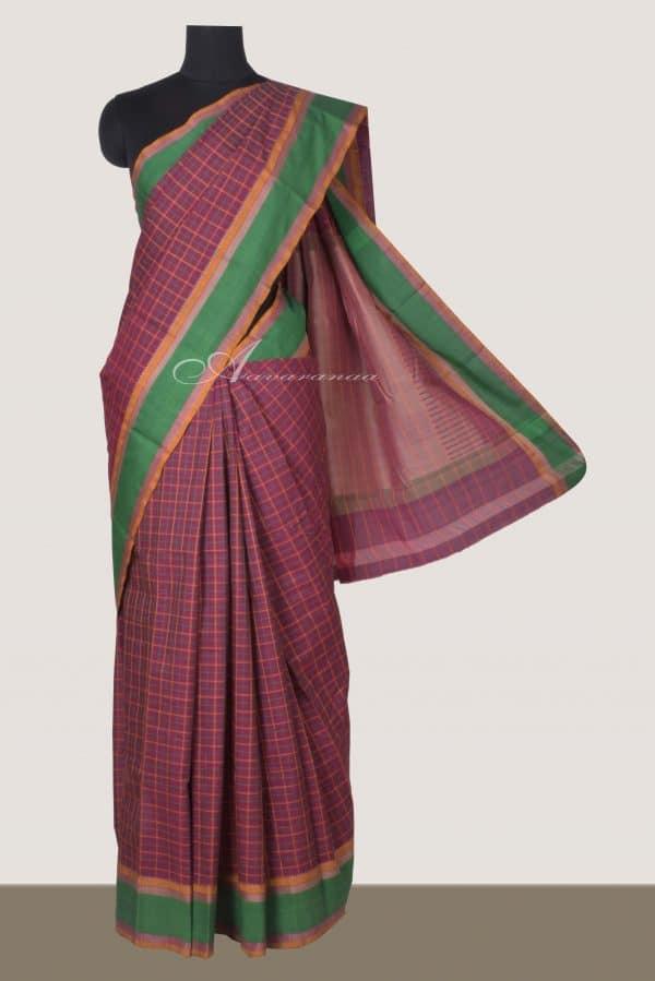 Purple kanchi cotton saree with green border-0