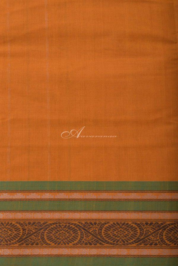 Yellow kanchi cotton saree with green border-14415