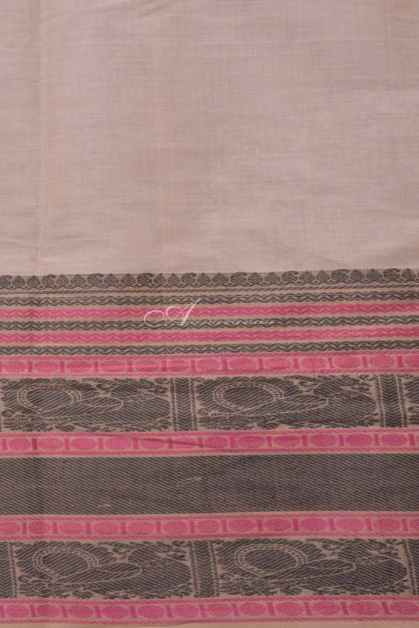 Cream kanchi cotton saree with black and pink border-14405