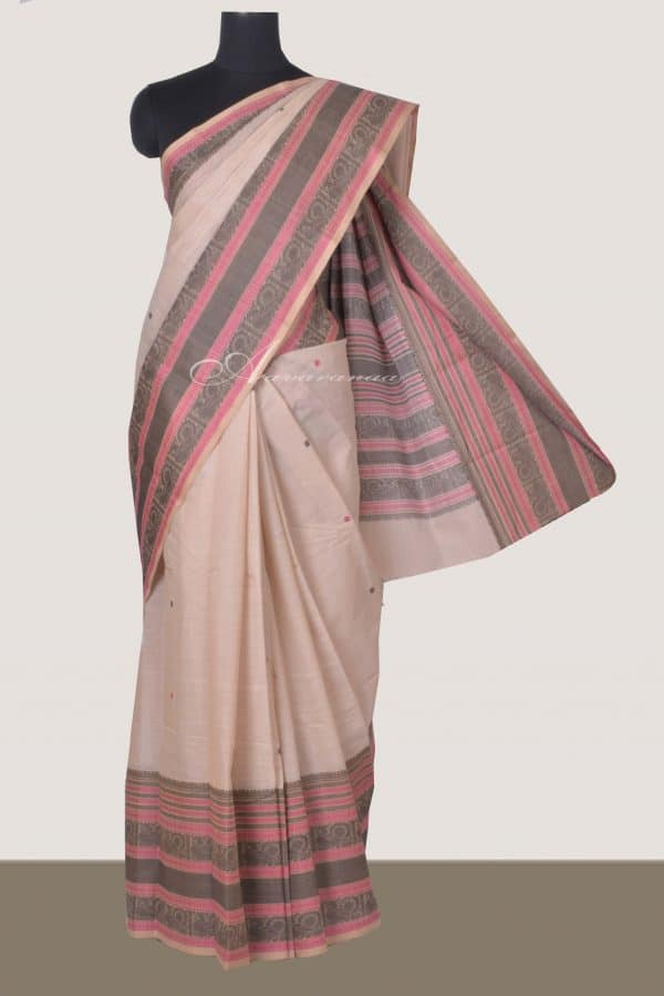 Cream kanchi cotton saree with black and pink border-0
