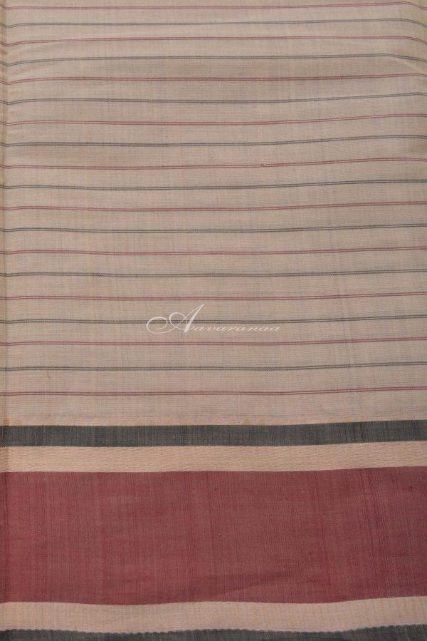 Cream kanchi cotton saree with cream border-14407