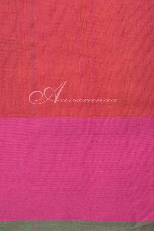 Yellow kanchi cotton saree with Peach border-14389