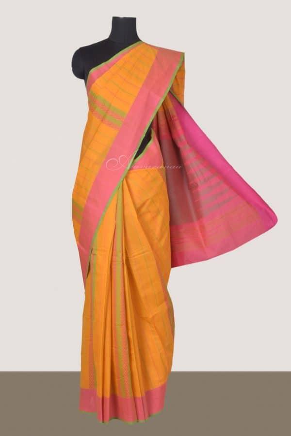 Yellow kanchi cotton saree with Peach border-0