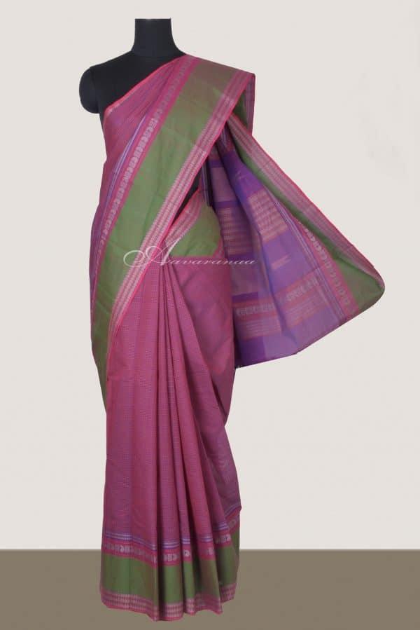 Light purple kanchi cotton saree with green border-0