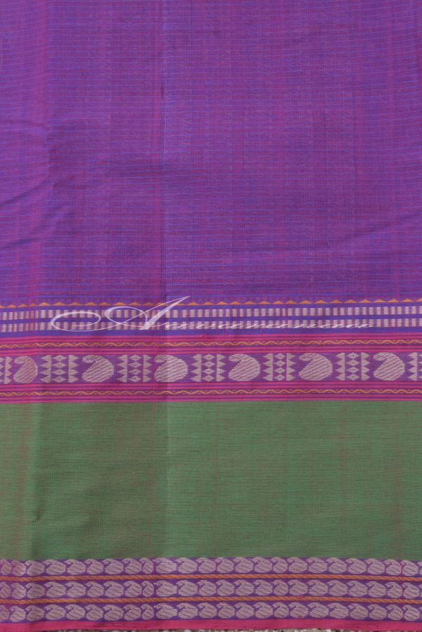 Light purple kanchi cotton saree with green border-14318