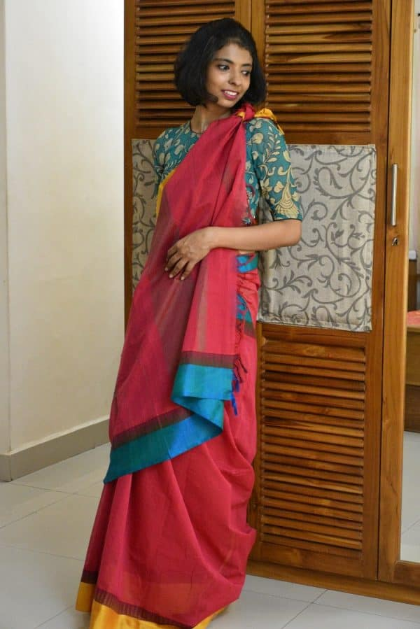 Red kanchi cotton with silk border saree-0