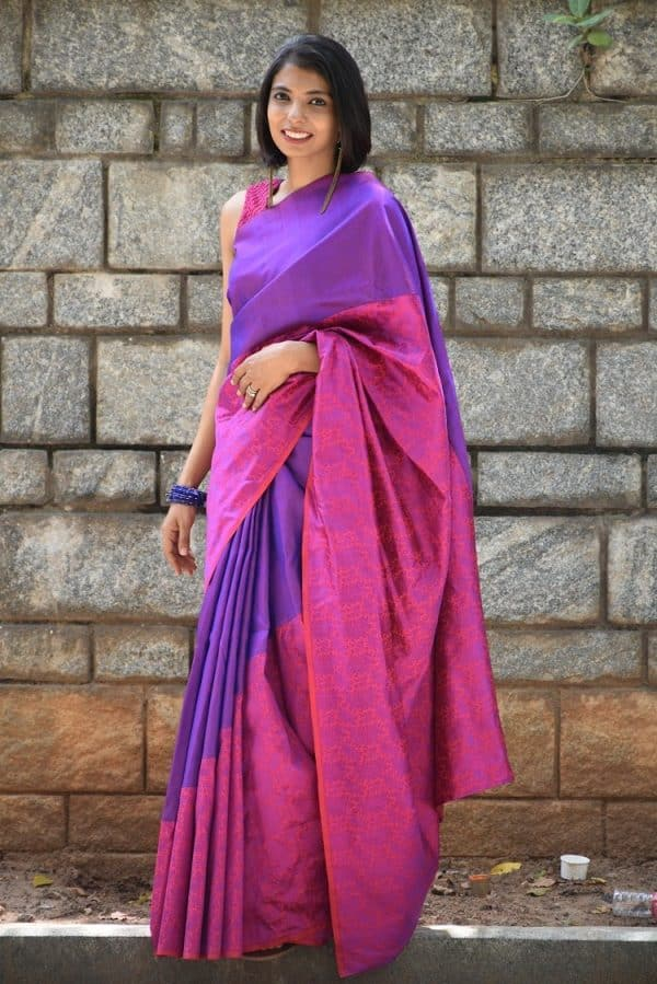 Majenta  kanchi silk and pink benarasi silk fusion saree-0