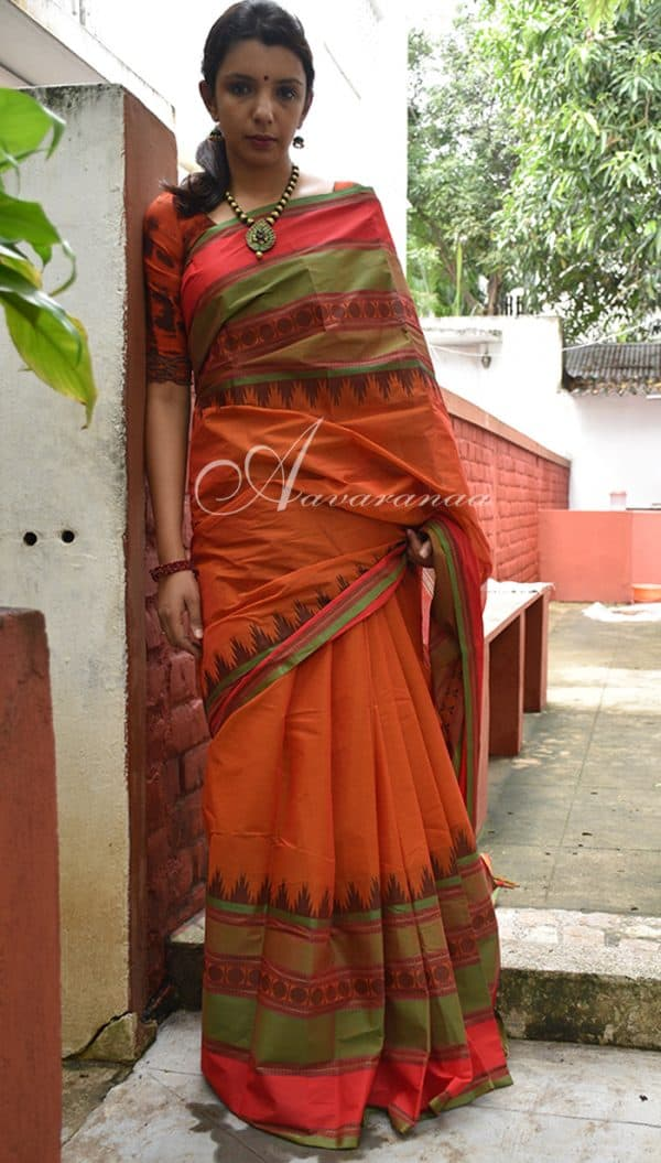 Kanchi Cotton in red-0