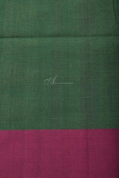Green kanchi cotton saree with stripes-14278