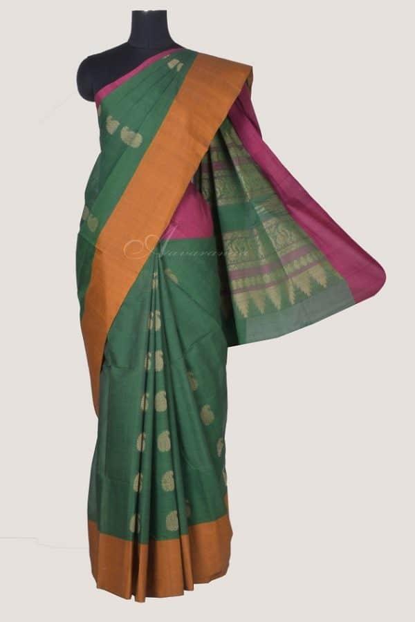 Green kanchi cotton saree with stripes-0