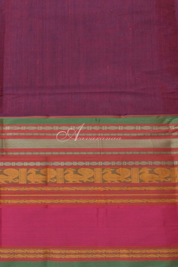 Violet Pink kanchi cotton long border saree-14482