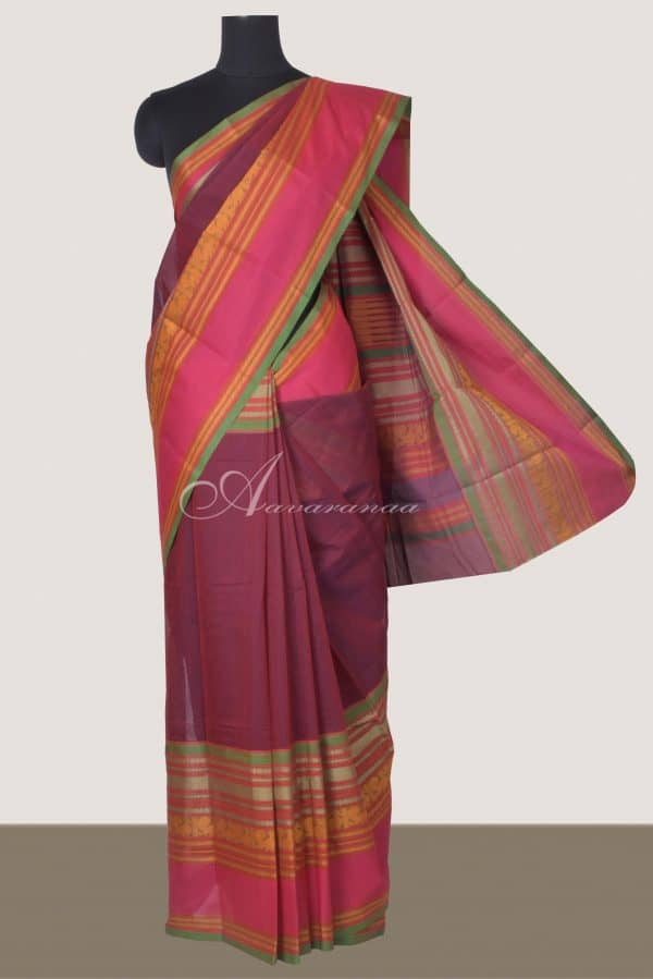 Violet Pink kanchi cotton long border saree-0