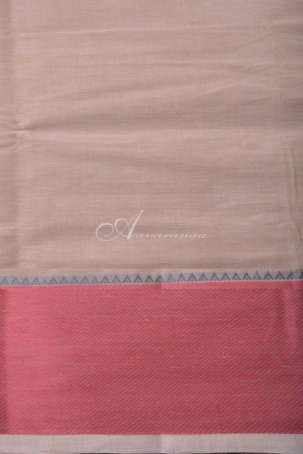 Light peach kanchi cotton saree border with red border-14490