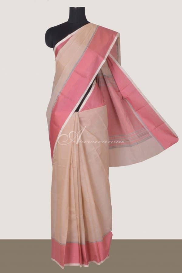 Light peach kanchi cotton saree border with red border-0