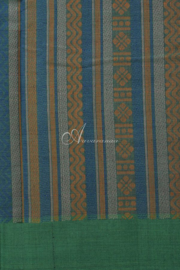 Purple with green mustard ganga jamuna border kanchi cotton saree-14497
