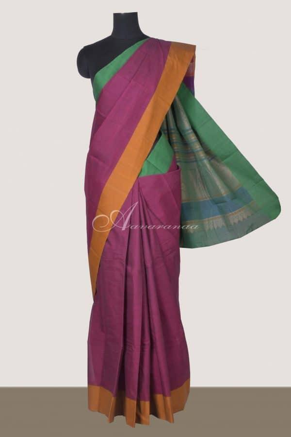 Purple with green mustard ganga jamuna border kanchi cotton saree-0