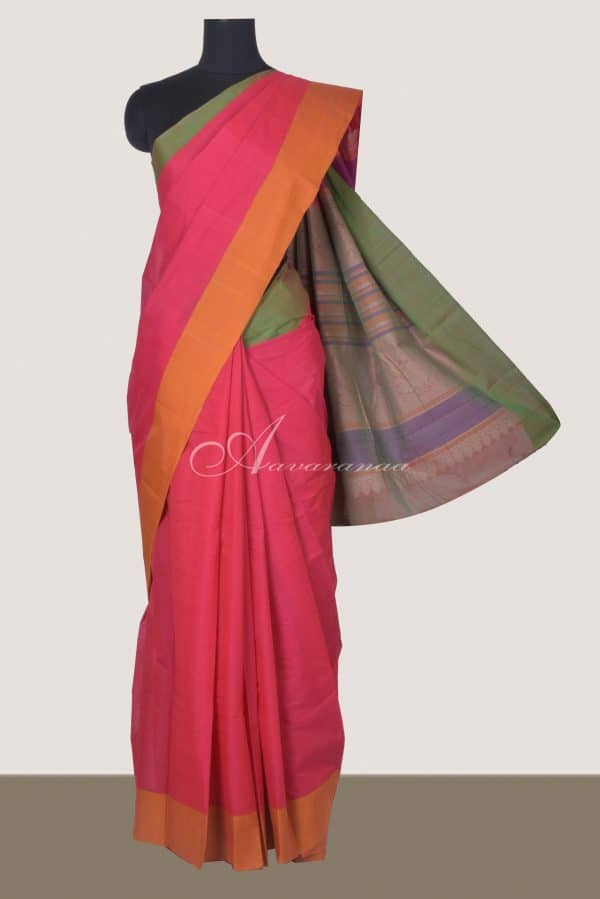 Pink with green mustard ganga jamuna border kanchi cotton saree-0