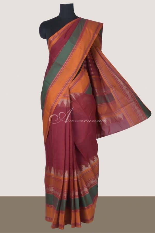 Dark maroon kanchi cotton saree with long border-0