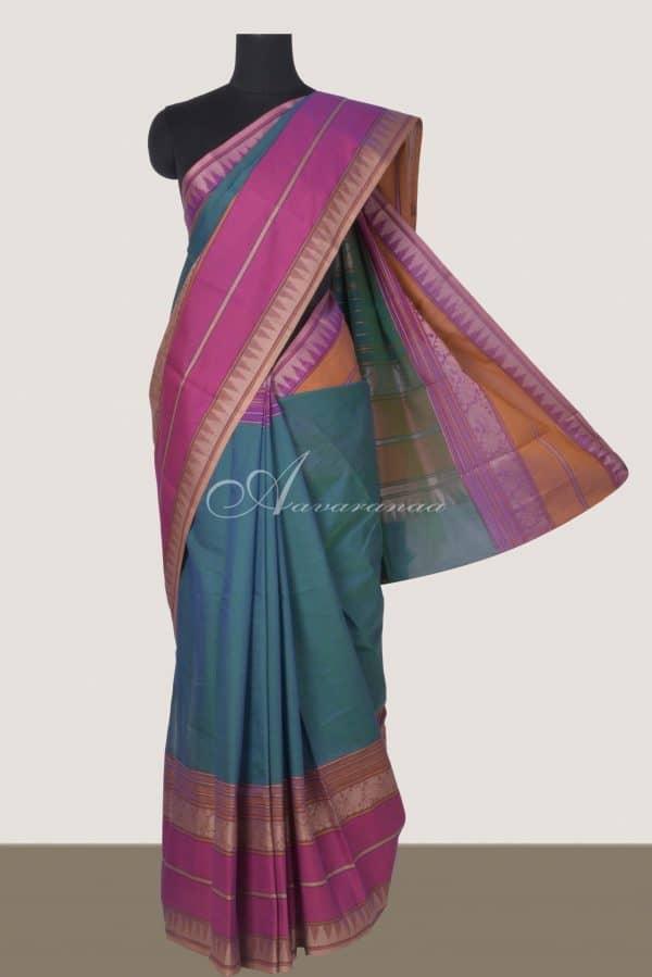 Peacock blue kanchi cotton saree with majenta border-0