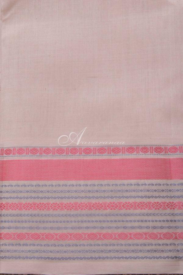 Cream kanchi cotton saree with black thread woven border-14527