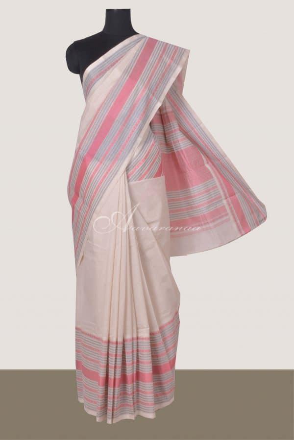 Cream kanchi cotton saree with black thread woven border-0