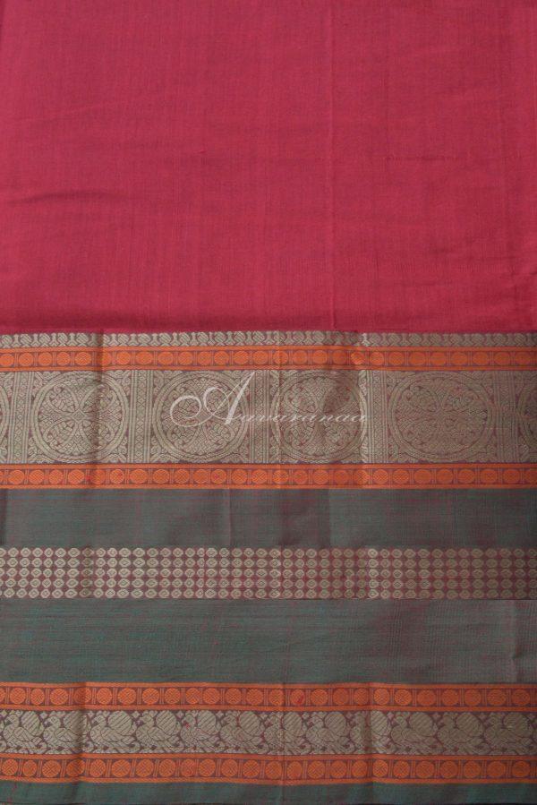 Maroon kanchi cotton ganga jamuna border saree-14538